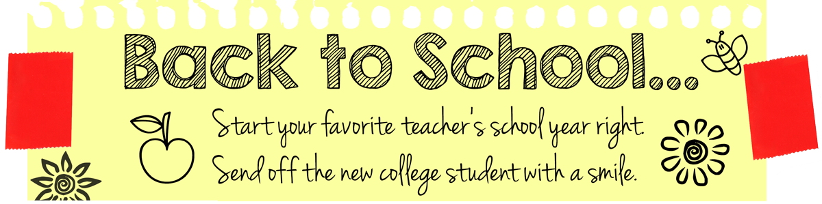 Head into fall and back to school with fun flowers and gifts - teachers, students, new college students, sorority bouquets, gift baskets, and more